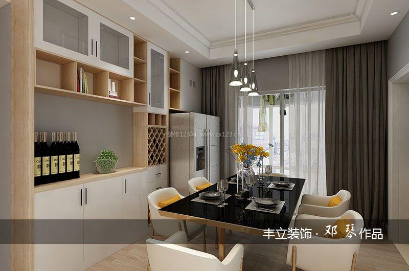 2018现代家装餐厅酒柜设计效果图_装修123效果图
