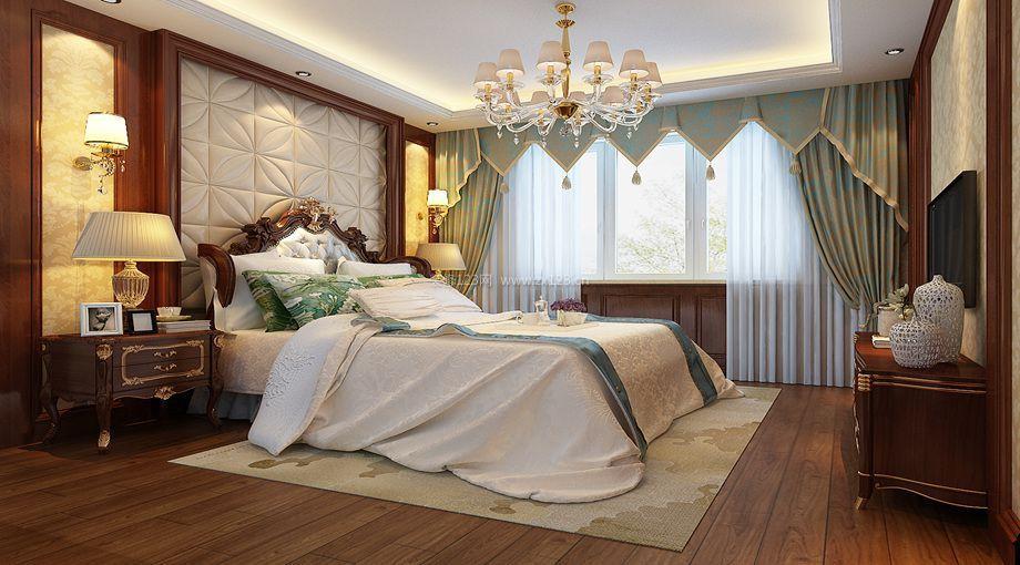 简单主卧室床头软包背景墙效果图 667  欧式主卧室床头软包背景墙