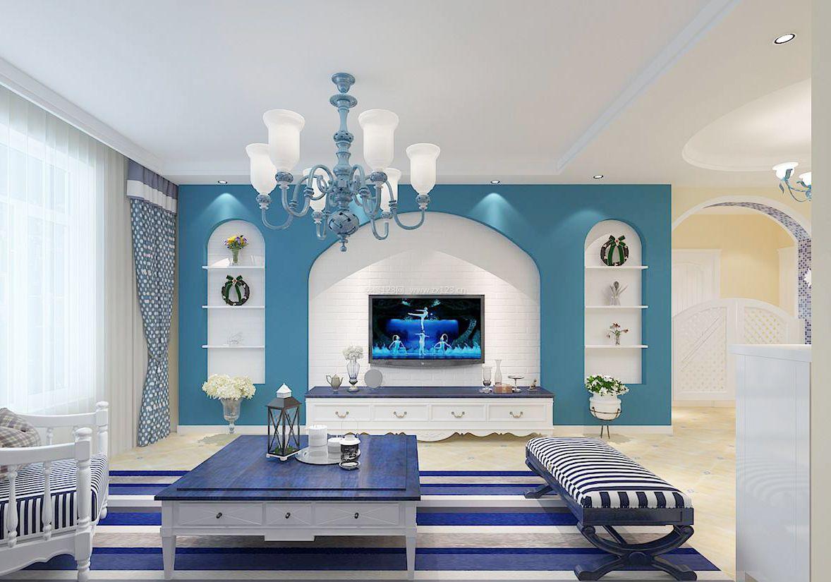 2018地中海风格客厅家具装修设计效果图