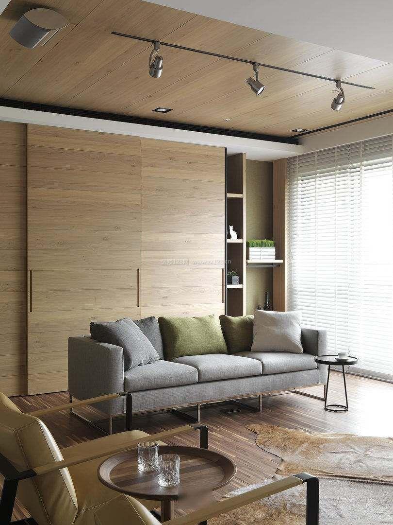北欧风格客厅木质吊顶装修效果图片图片