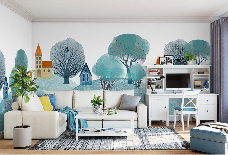 北欧风格客厅好看的墙绘装修图片图片