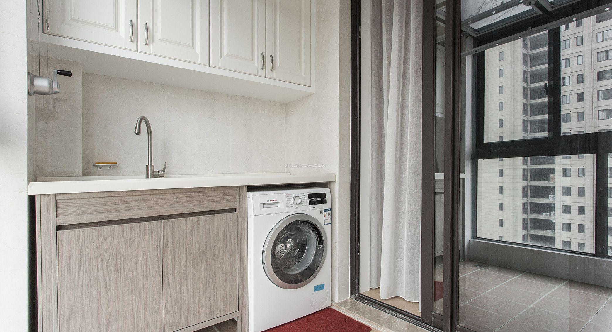 2018现代简单阳台洗衣机柜子装修