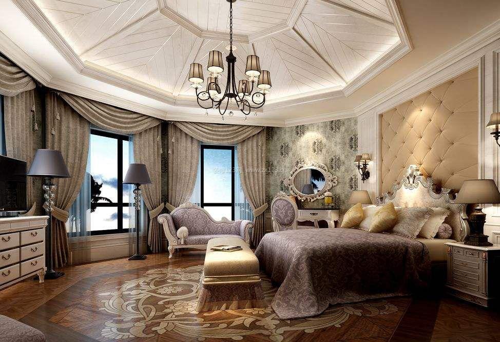 2018欧式奢华风格别墅卧室吊顶设计效果图图片