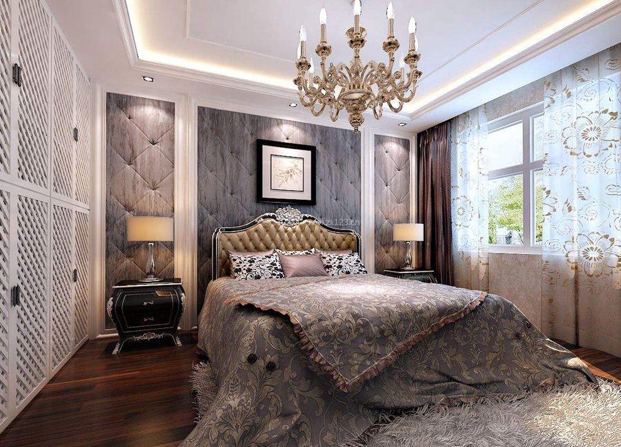 2018欧式奢华风格卧室实木地板装修效果图图片