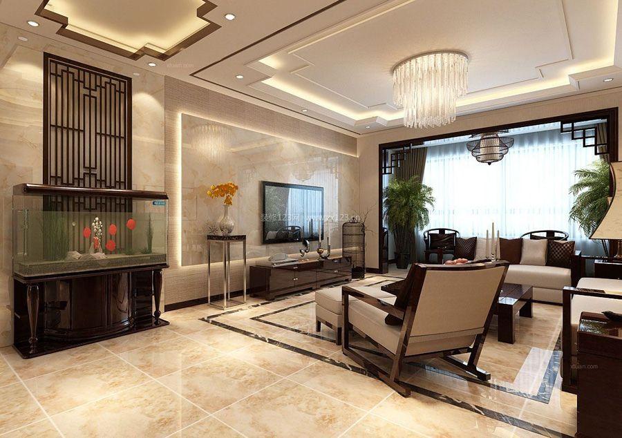 2018中式客厅大理石电视墙设计图片