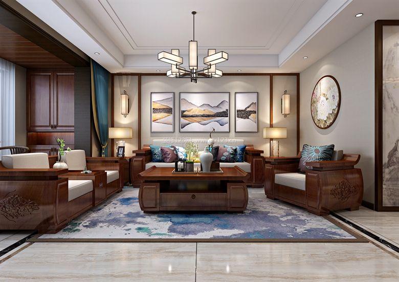 2018简中式客厅效果欣赏 客厅沙发背景墙装修