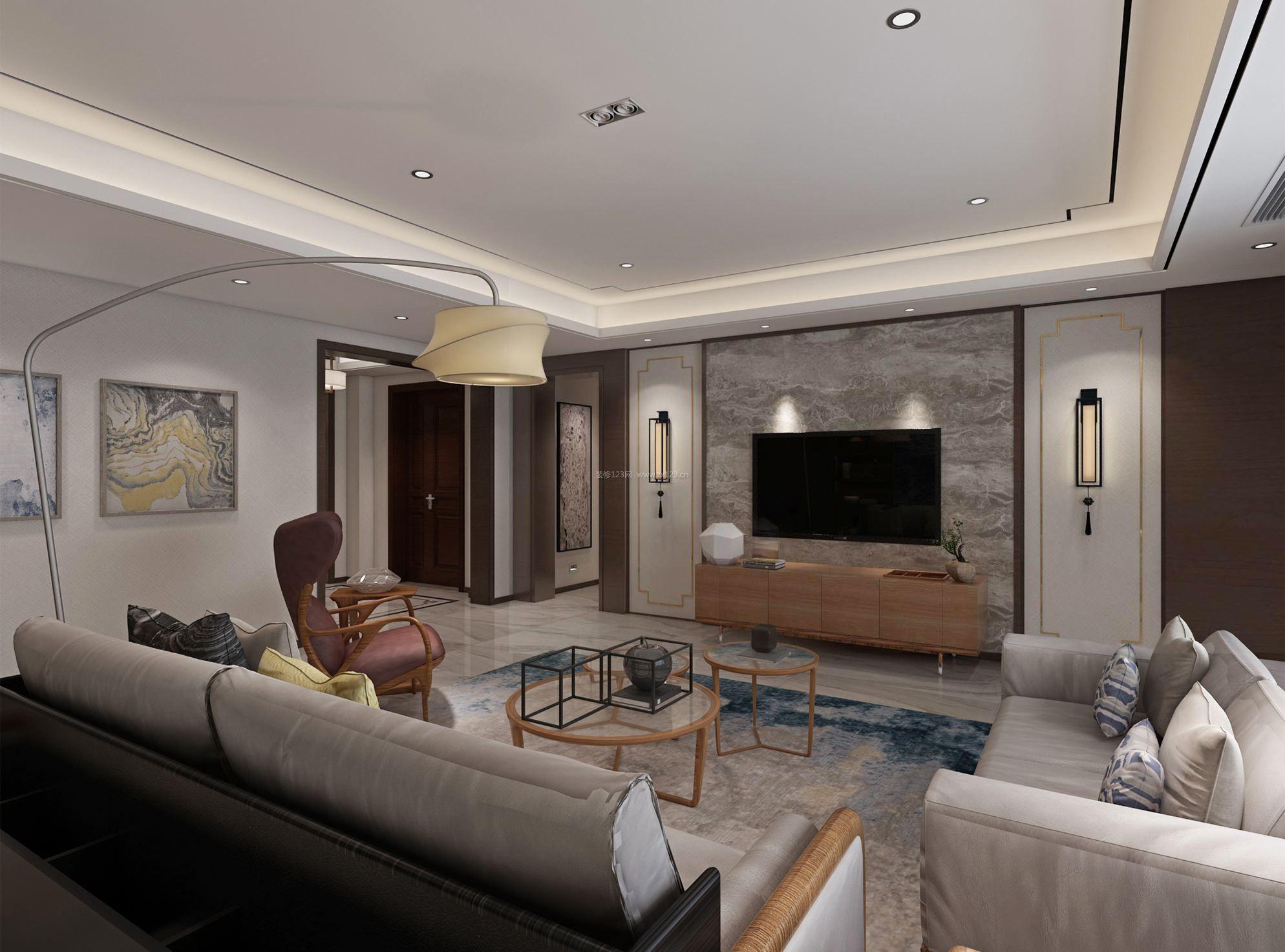 大平层客厅瓷砖电视墙装修设计效果图