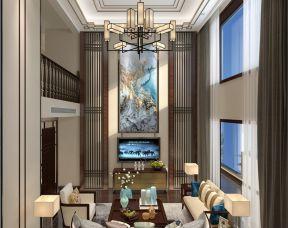 复式新中式客厅装修效果图 电视机背景墙装修图片