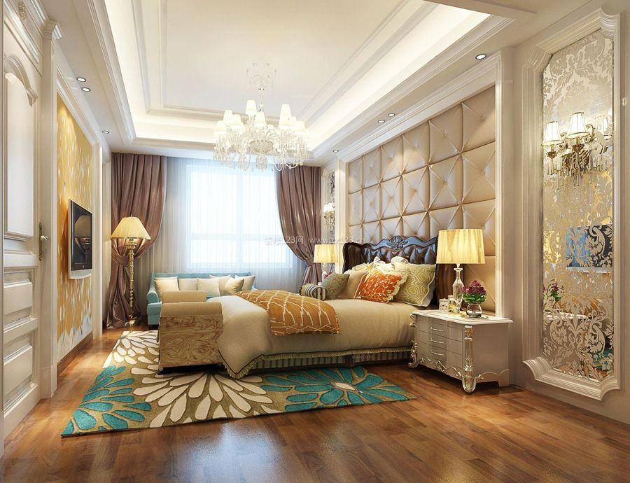 简欧式别墅卧室背景墙装修实景图
