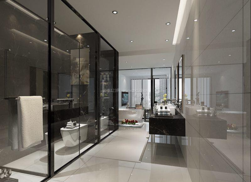 别墅主卧室卫生间玻璃墙装修效果图
