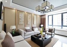 新中式别墅室内客厅沙发背景墙装修