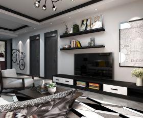 2018现代简约风格室内客厅搁物架造型装修图片