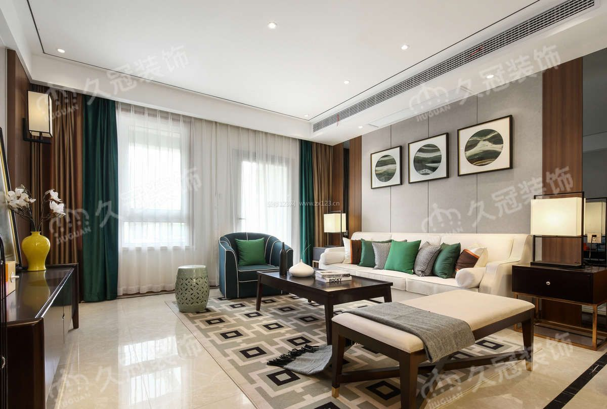2018大气新中式风格客厅窗帘颜色搭配效果图片