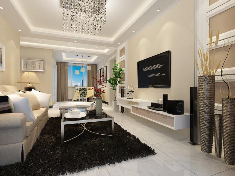 2018精致现代简约客厅装饰品摆设装修图_装修123效果图