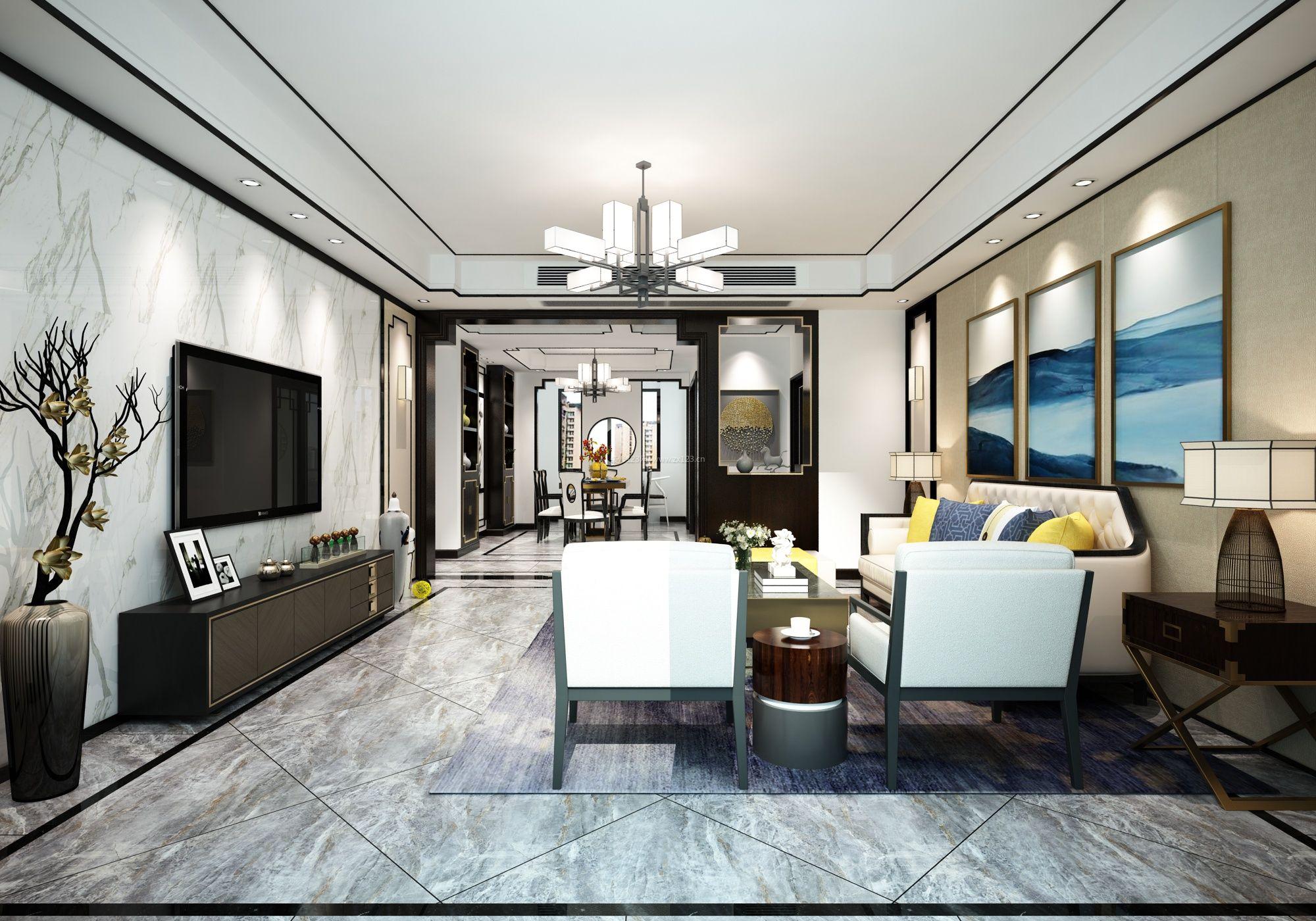 客厅新中式风格石材电视墙设计装修效果图图片