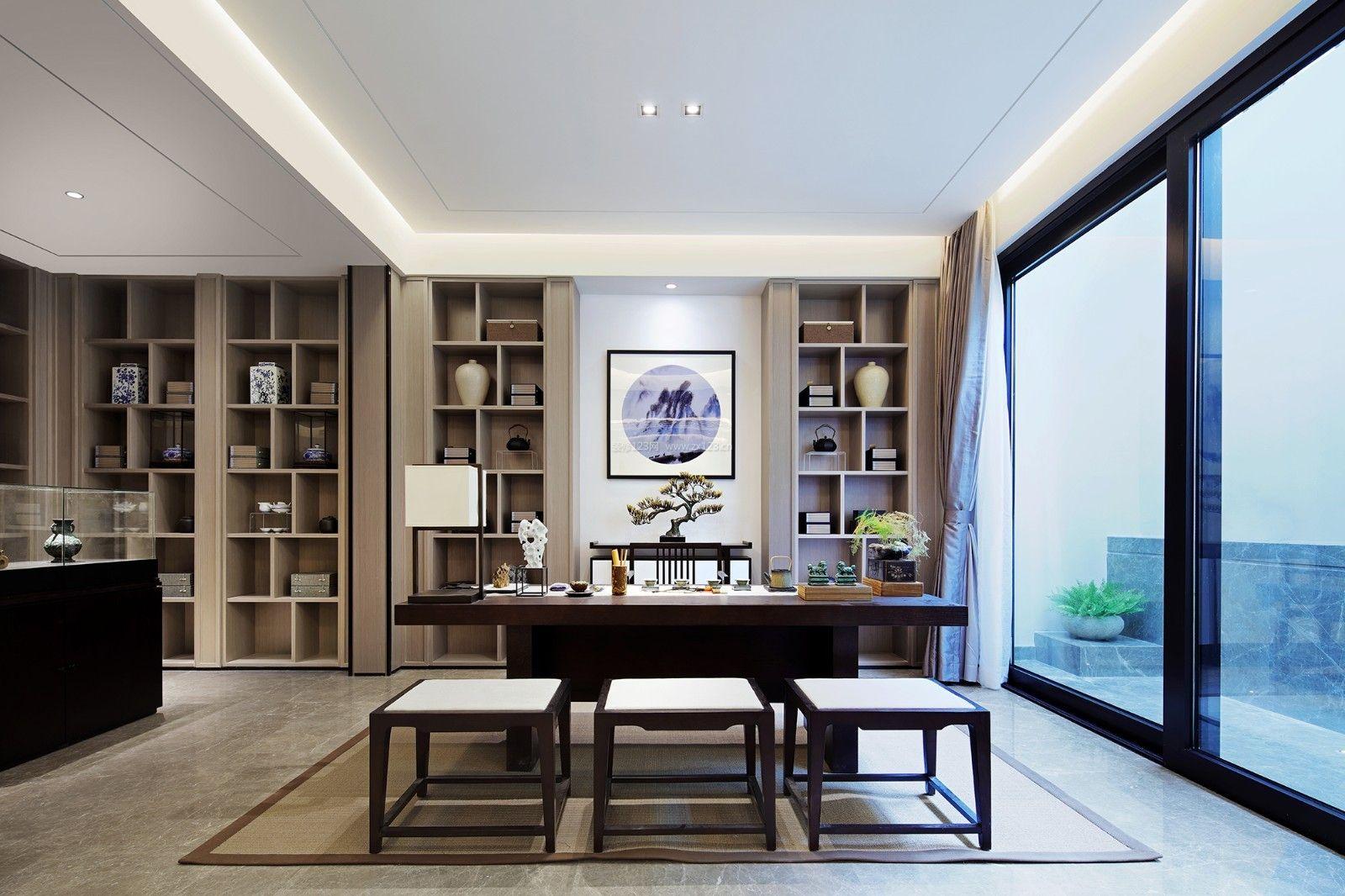 新中式别墅室内书桌书柜装修设计图片