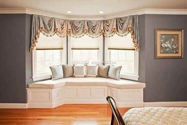 室内装修飘窗窗帘安装效果图