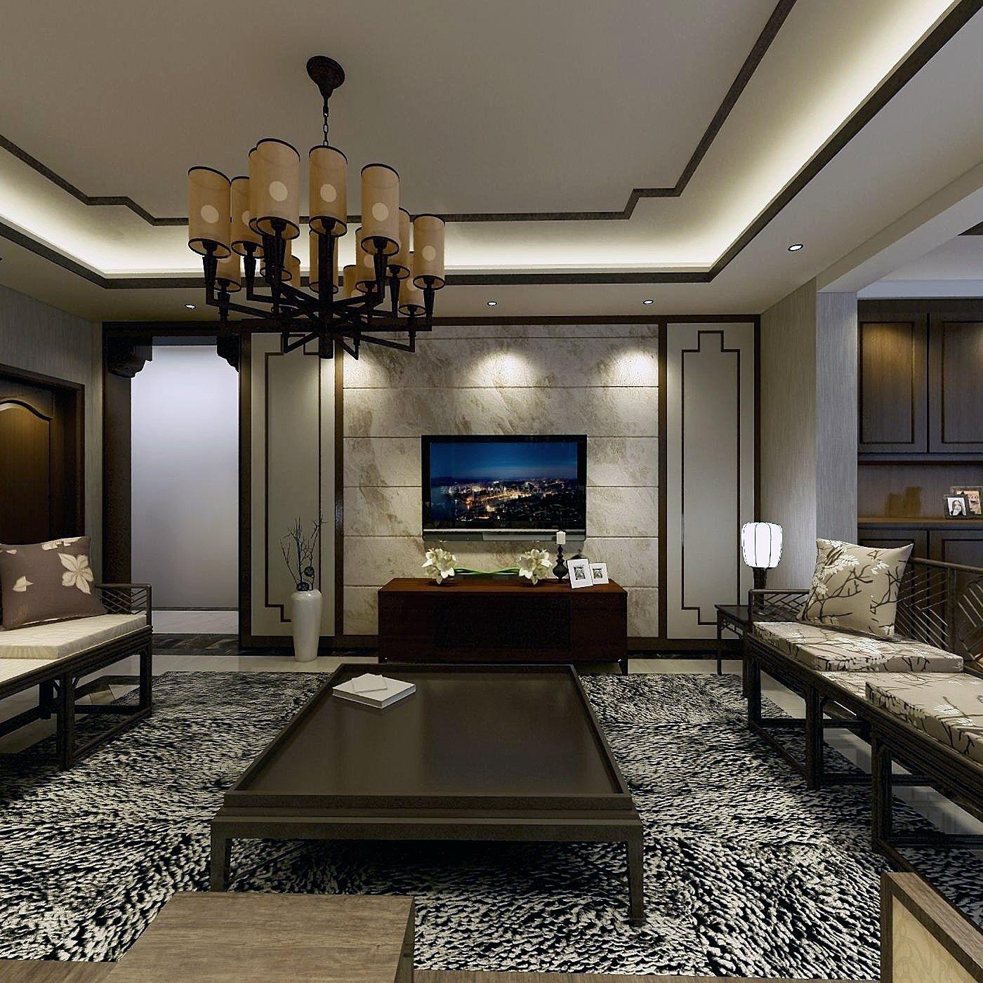 2018新中式风格客厅瓷砖电视墙设计效果图图片