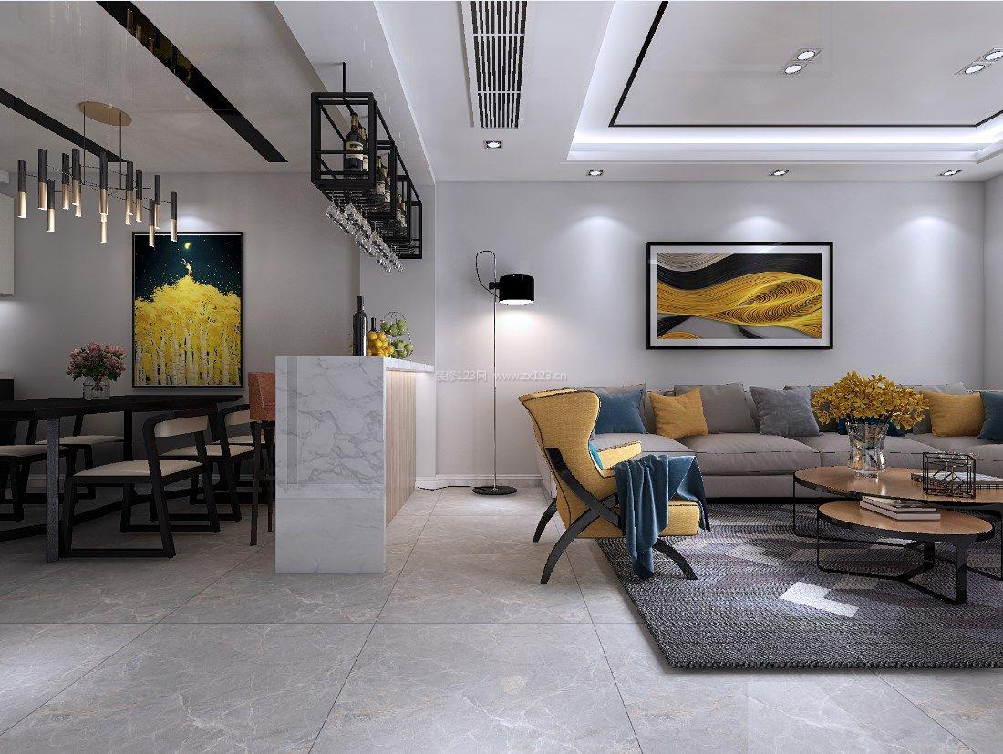 2018简约现代风格家装客厅餐厅吧台隔断装修效果图