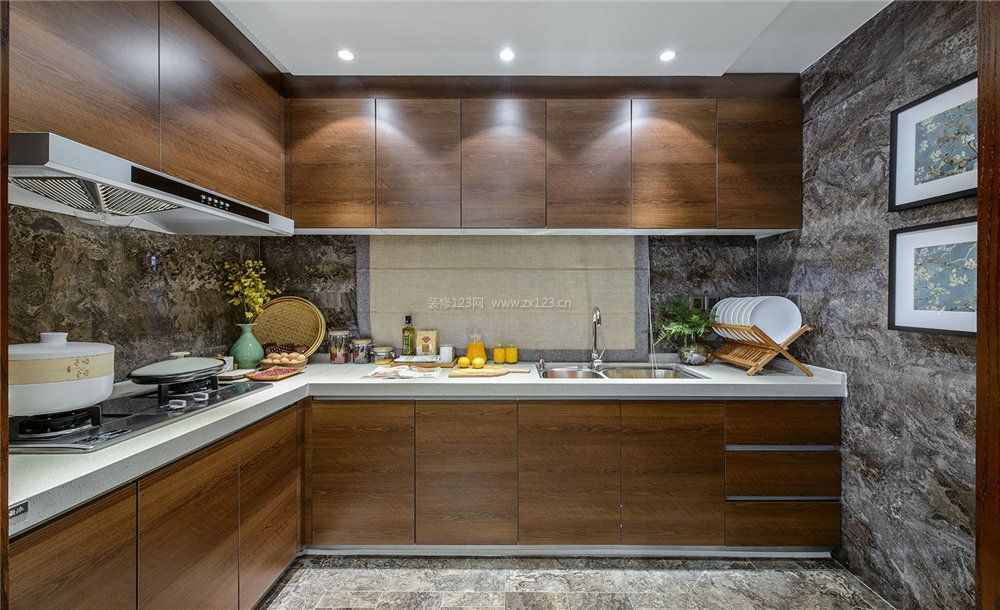 时尚家装厨房l型整体橱柜效果图
