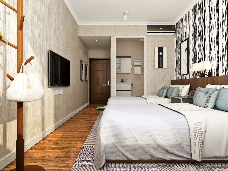 现代酒店房间带卫生间装修效果图片