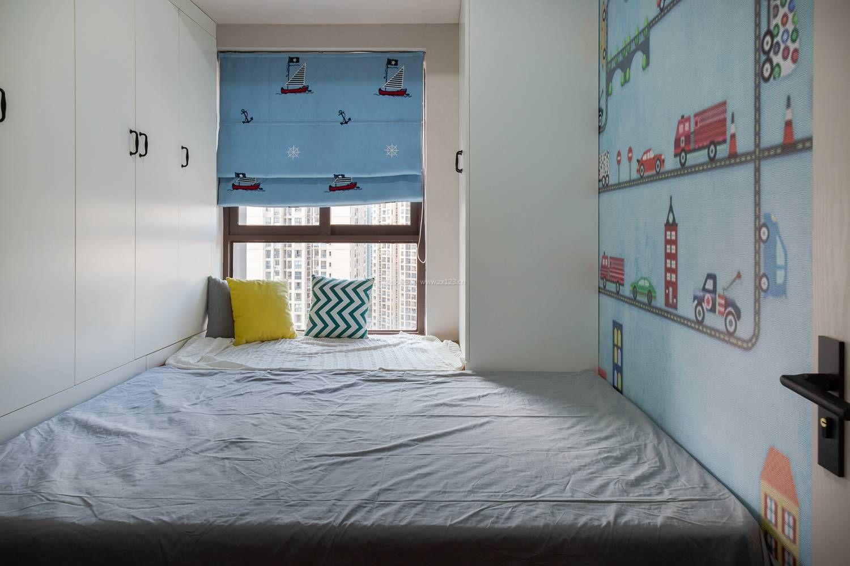 2018北欧房间榻榻米床窗帘装修效果图图片