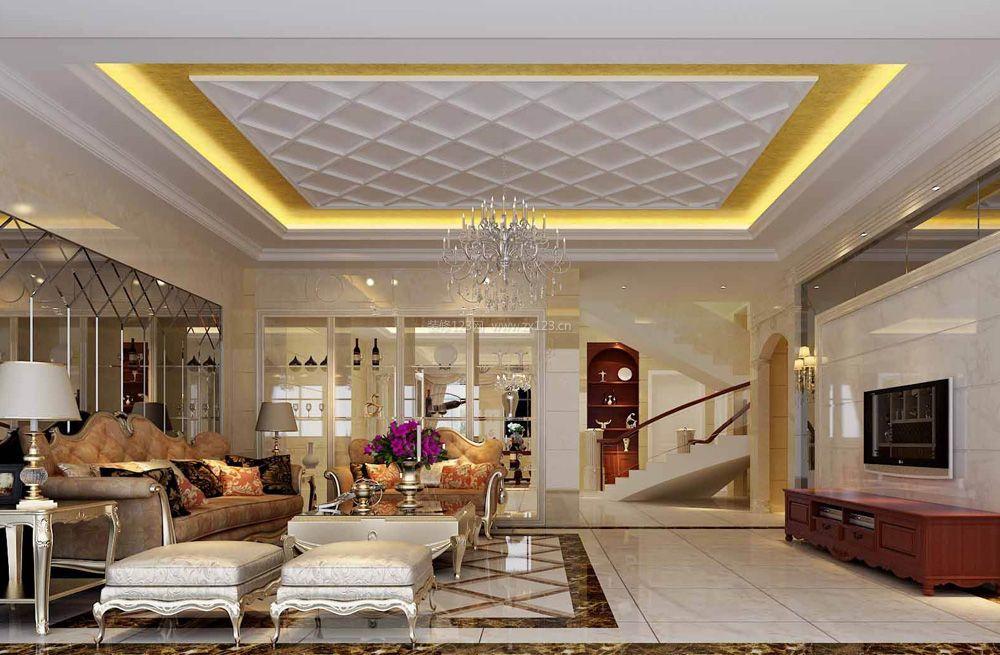 欧式奢华别墅客厅吊顶灯带装修效果图