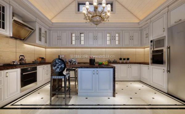 欧式开放式厨房吊顶设计图片