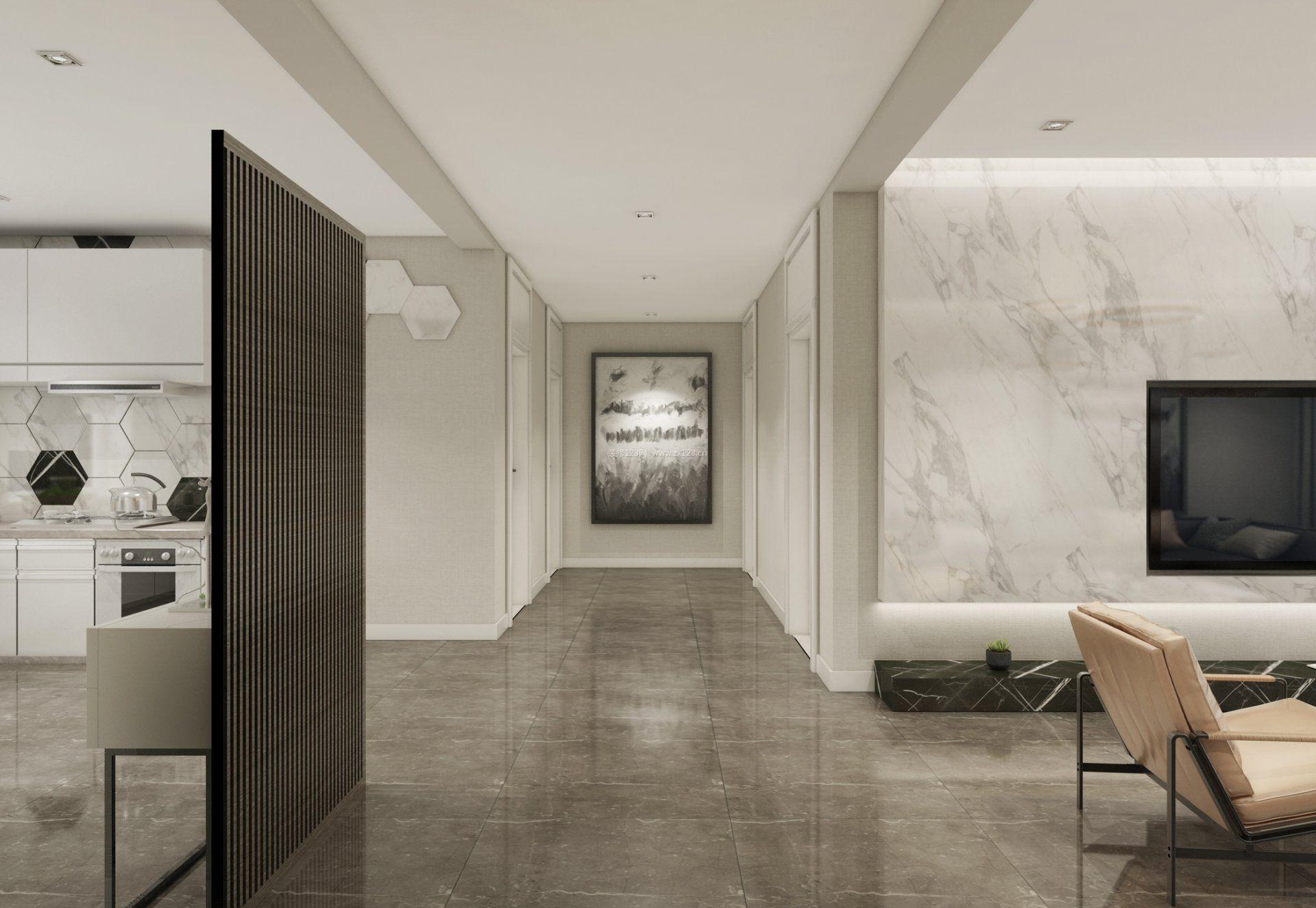 2018简洁现代客厅石材电视背景墙装修效果图