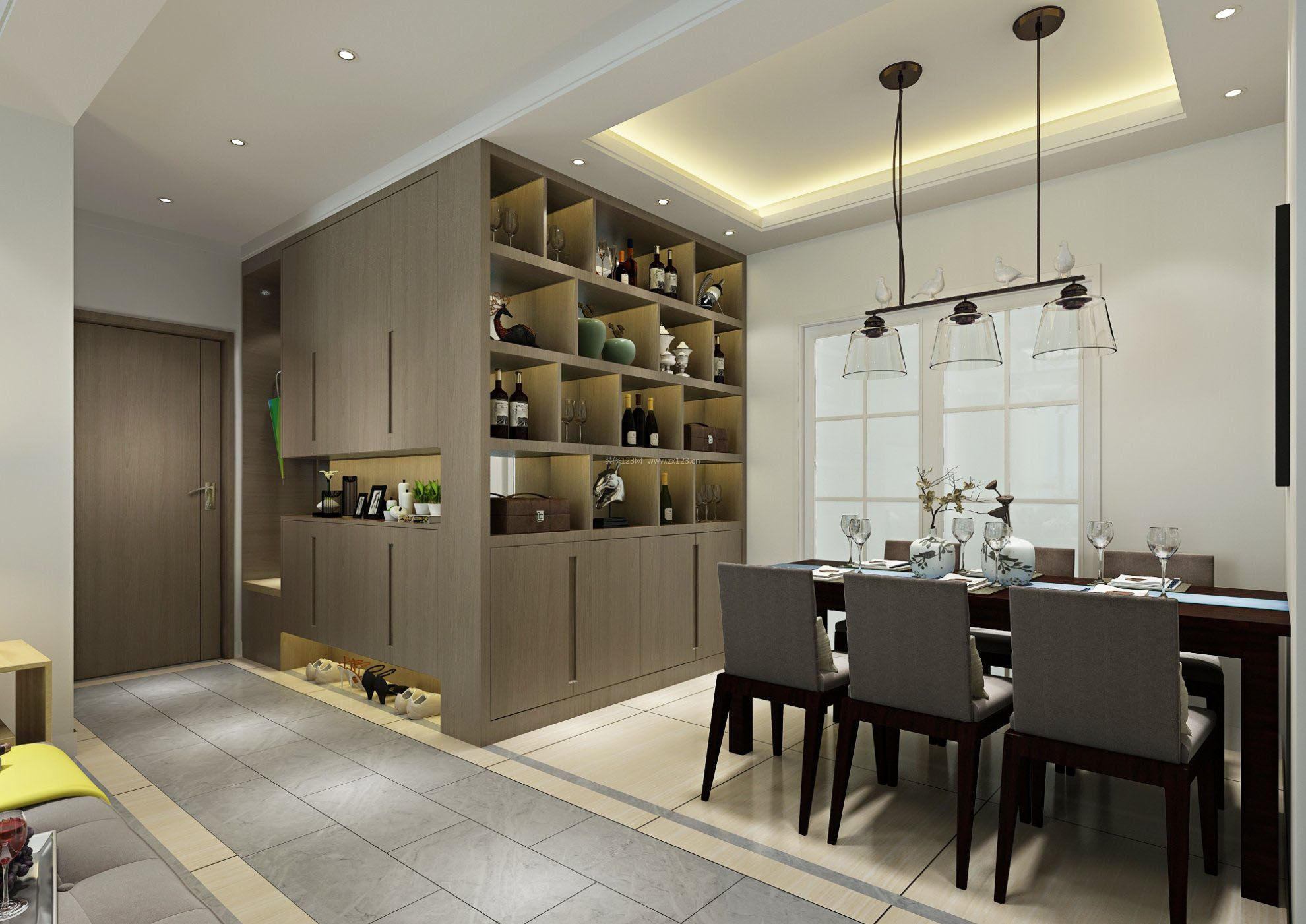 六十平米房子餐厅酒柜装修设计效果图