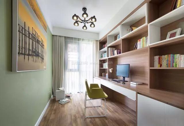家装效果图 现代 2018现代书房电脑桌书柜一体装修图片大全欣赏 提供图片