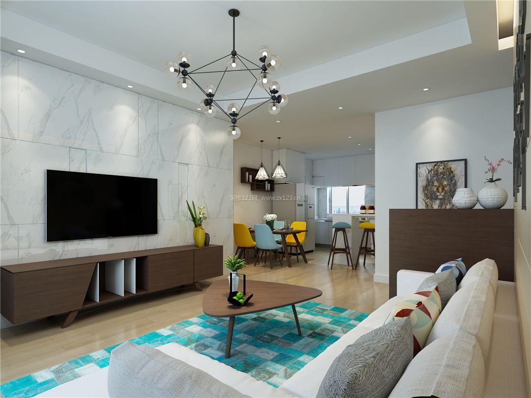 2018简约现代客厅瓷砖电视背景墙设计效果图片