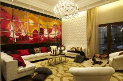 東南亞風情別墅客廳沙發背景墻裝修
