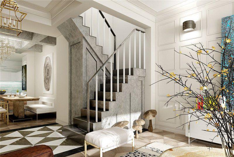 复式家装样板房转角楼梯设计_装修123效果图