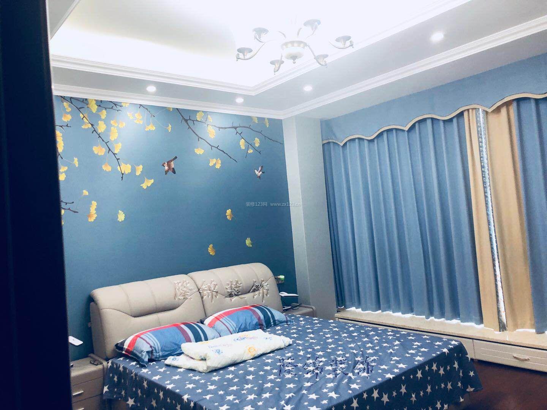 2018现代新中式卧室窗帘装修效果图片