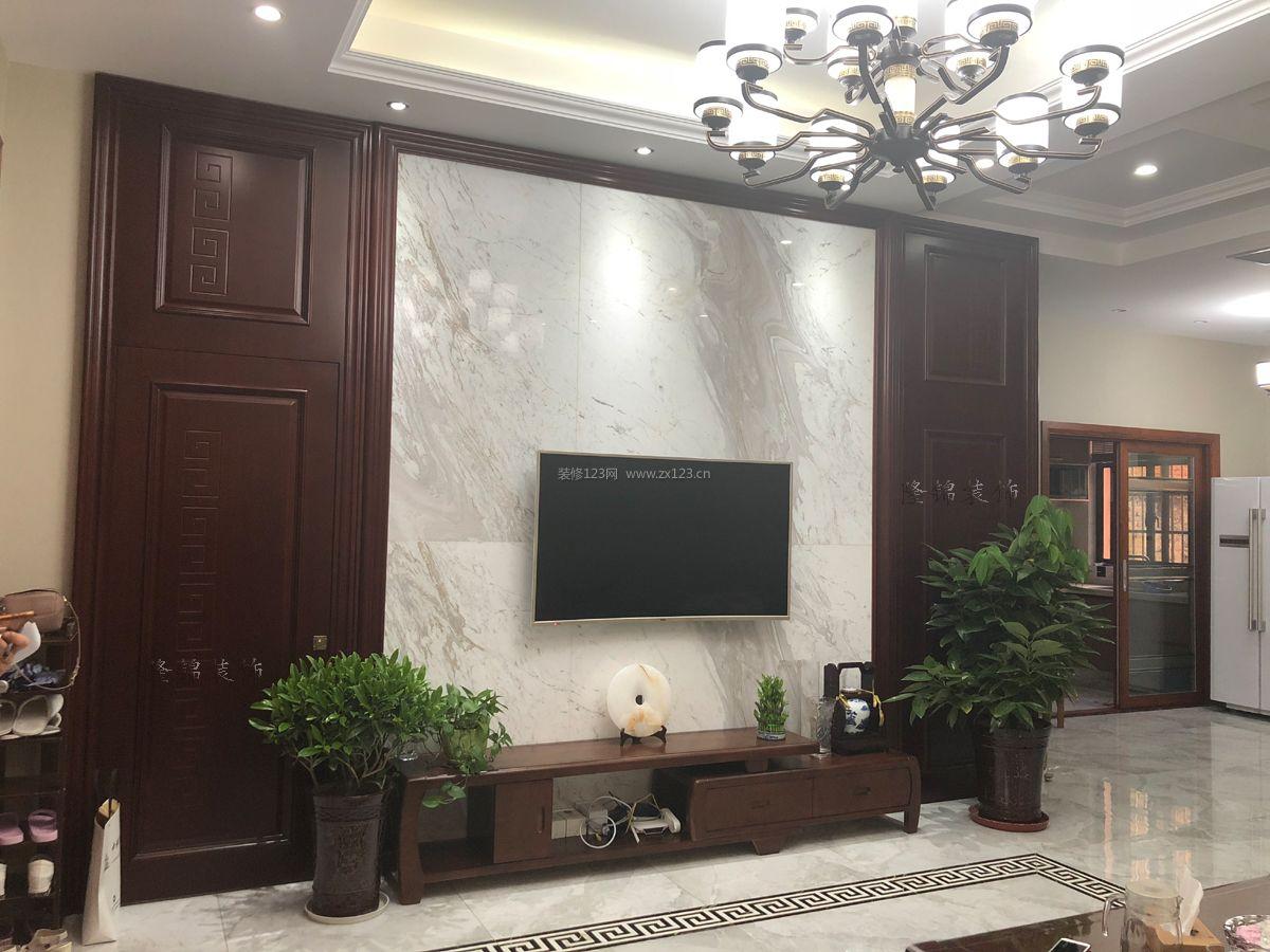2018现代新中式风格客厅电视背景墙装修效果图片