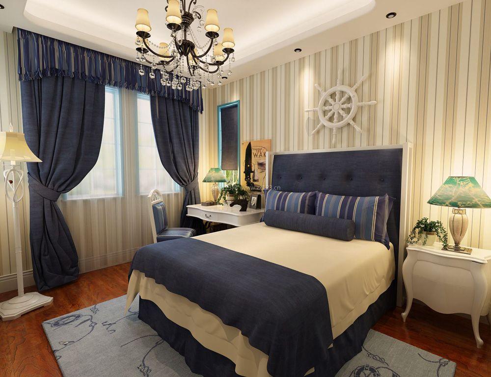 地中海风格别墅卧室蓝色窗帘装修效果图片案例