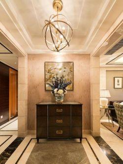 美式風格家居進門吊頂燈具裝潢設計圖