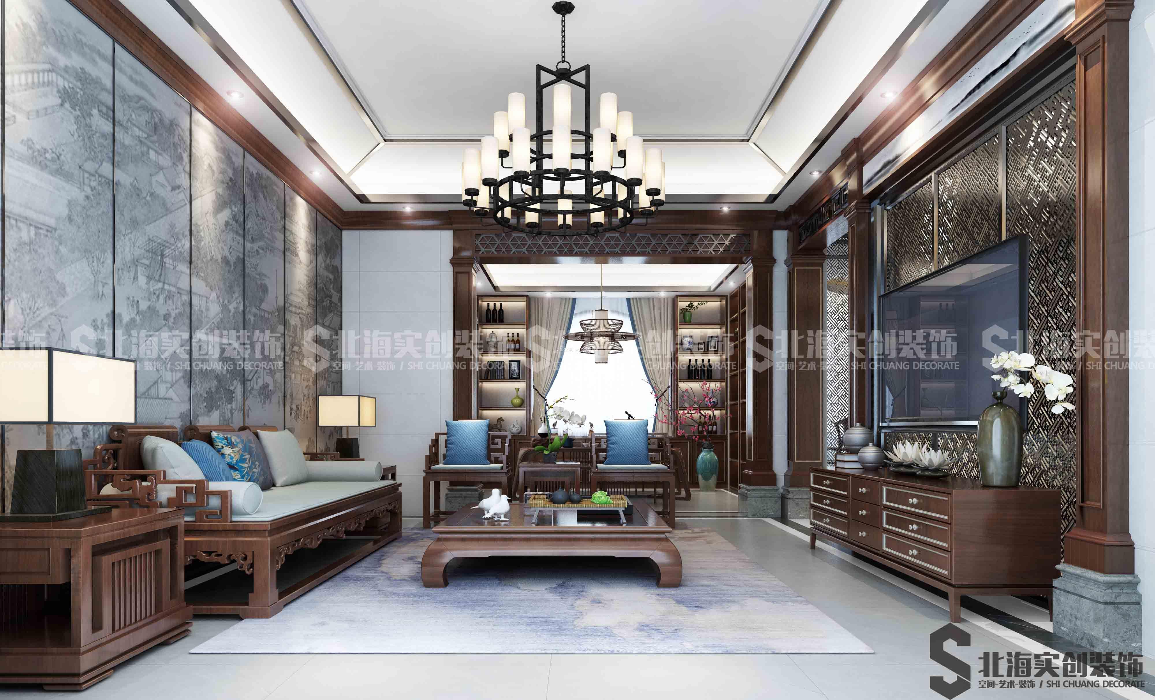 2018低调新中式客厅吊灯装修设计图片_装修123效果图
