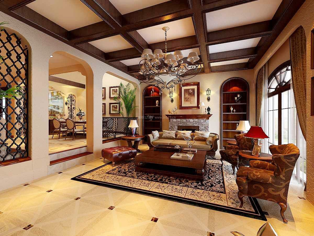 别墅商品房客厅错层吊顶装修效果图