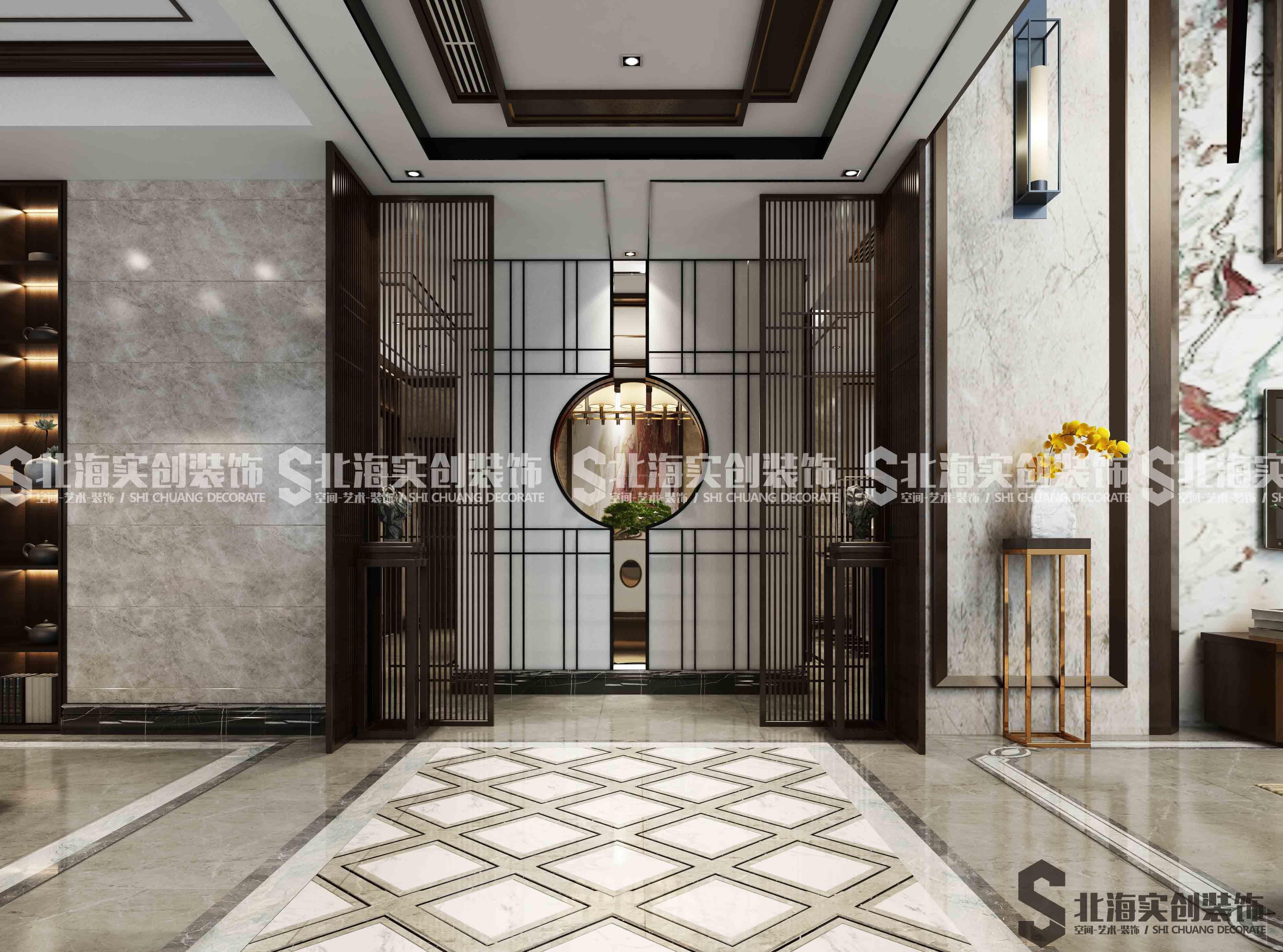 2018新中式别墅过道走廊地板砖装修效果图