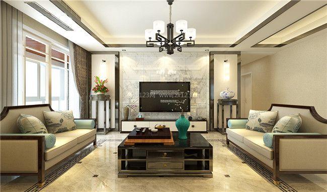 2018新中式风格客厅瓷砖电视背景墙设计效果图