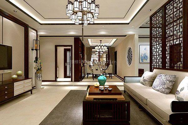 【蜀源装饰】新中式客厅如何吊顶 新中式客厅吊顶要点图片