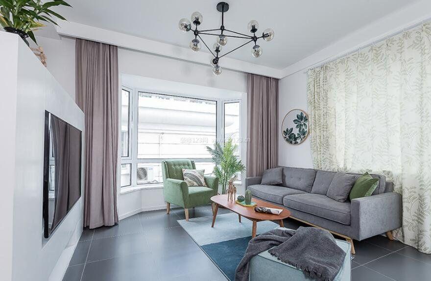 小公寓样板房客厅地面青砖装修设计图片