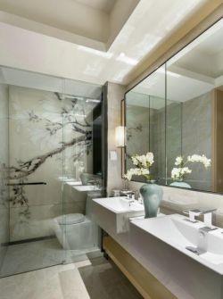 現代中式家裝衛生間玻璃隔斷設計圖片