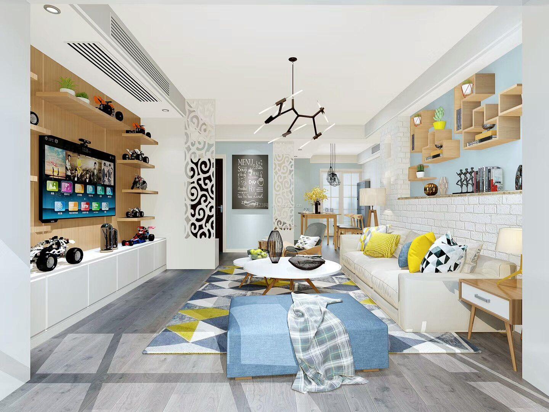 小清新客厅室内电视墙造型设计图片赏析