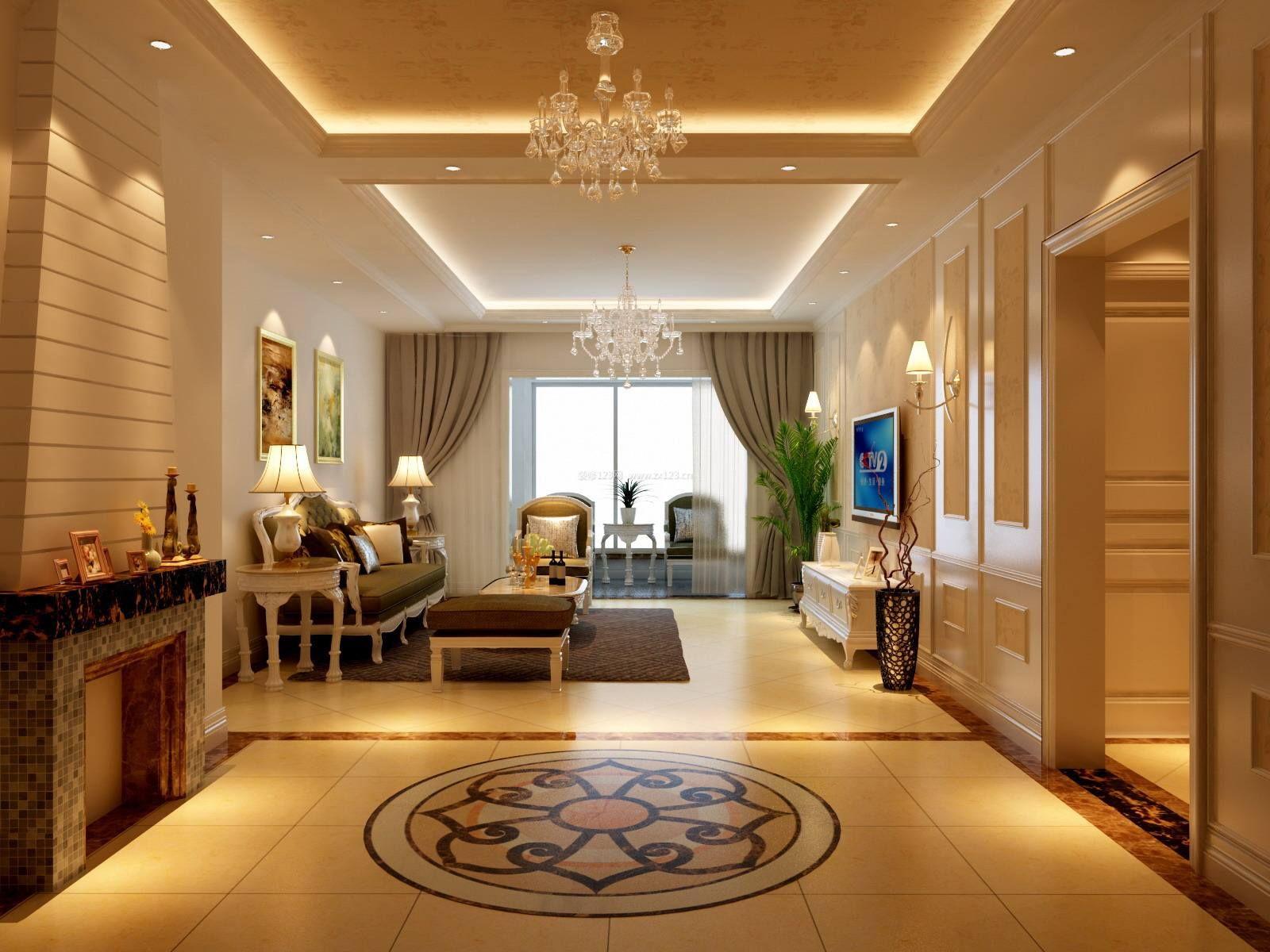 2018欧式风格客厅地砖装饰效果图片