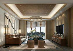 新中式別墅小客廳背景墻裝修設計圖