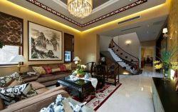新中式別墅客廳沙發背景墻山水畫裝修設計圖