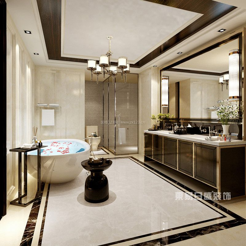 保利两河森林204独栋别墅装修简约欧式风格设计效果图|成都东易日盛